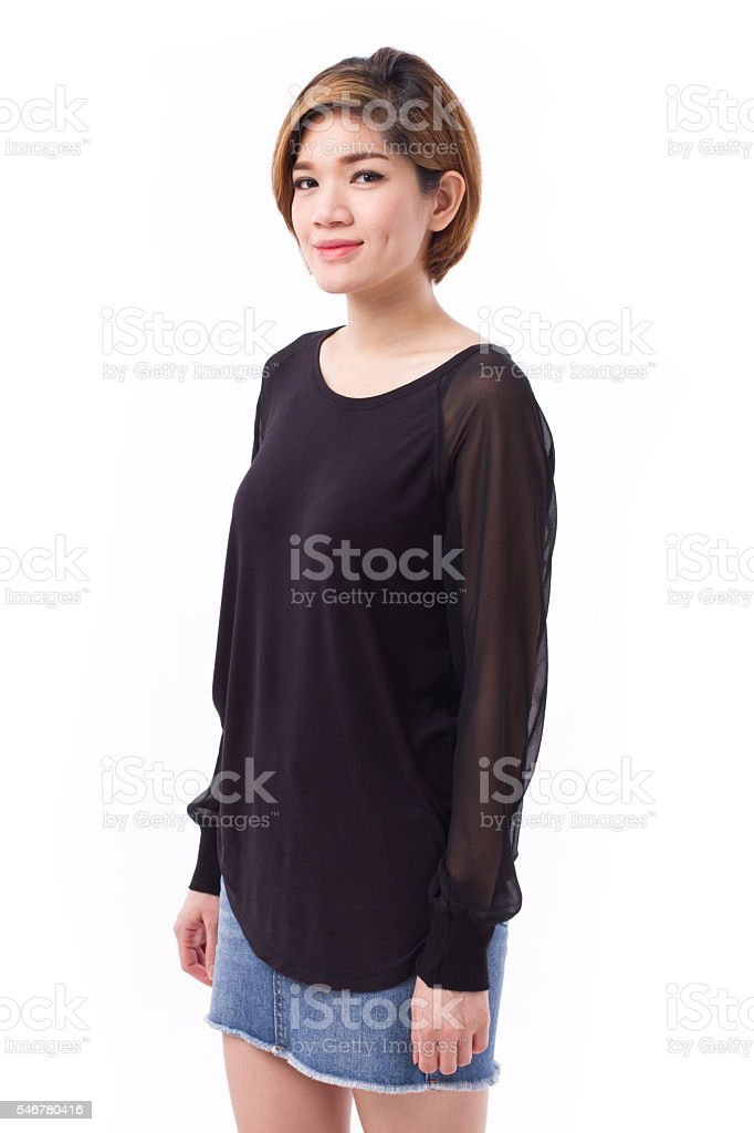 portrait of confident asian woman, casual style stock photo