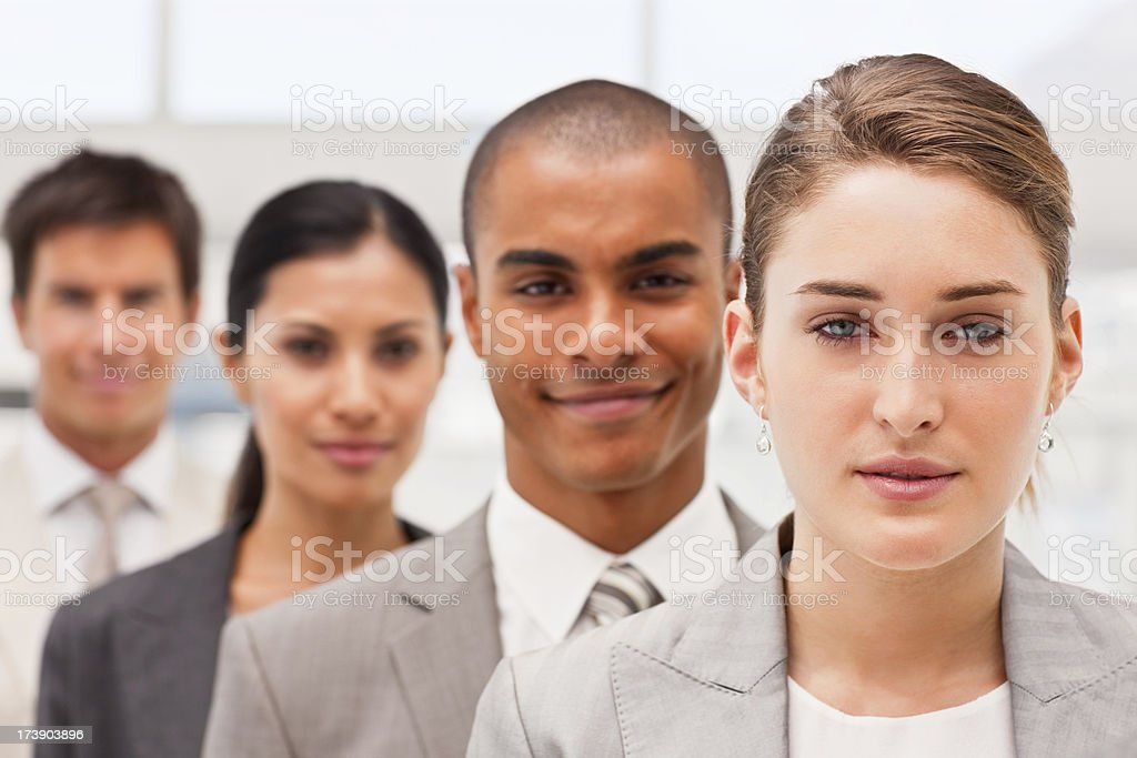 Portrait of confident business colleagues in a row royalty-free stock photo
