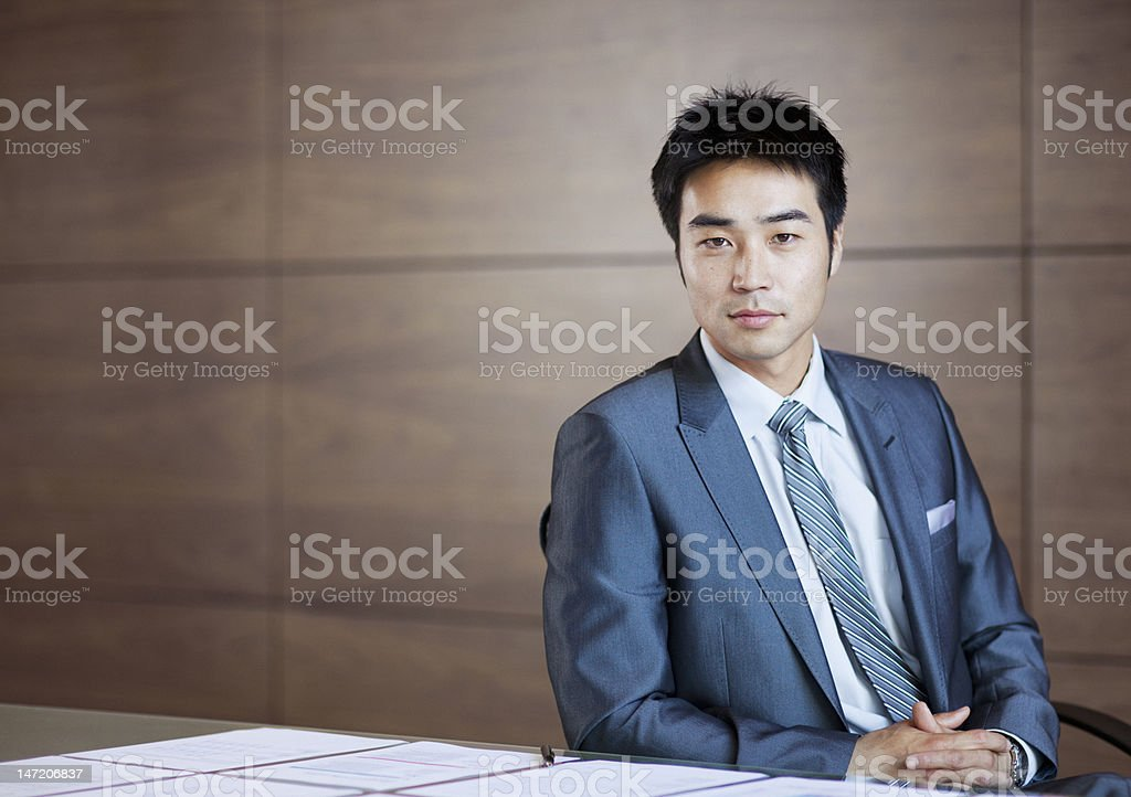 Portrait of confident businessman stock photo
