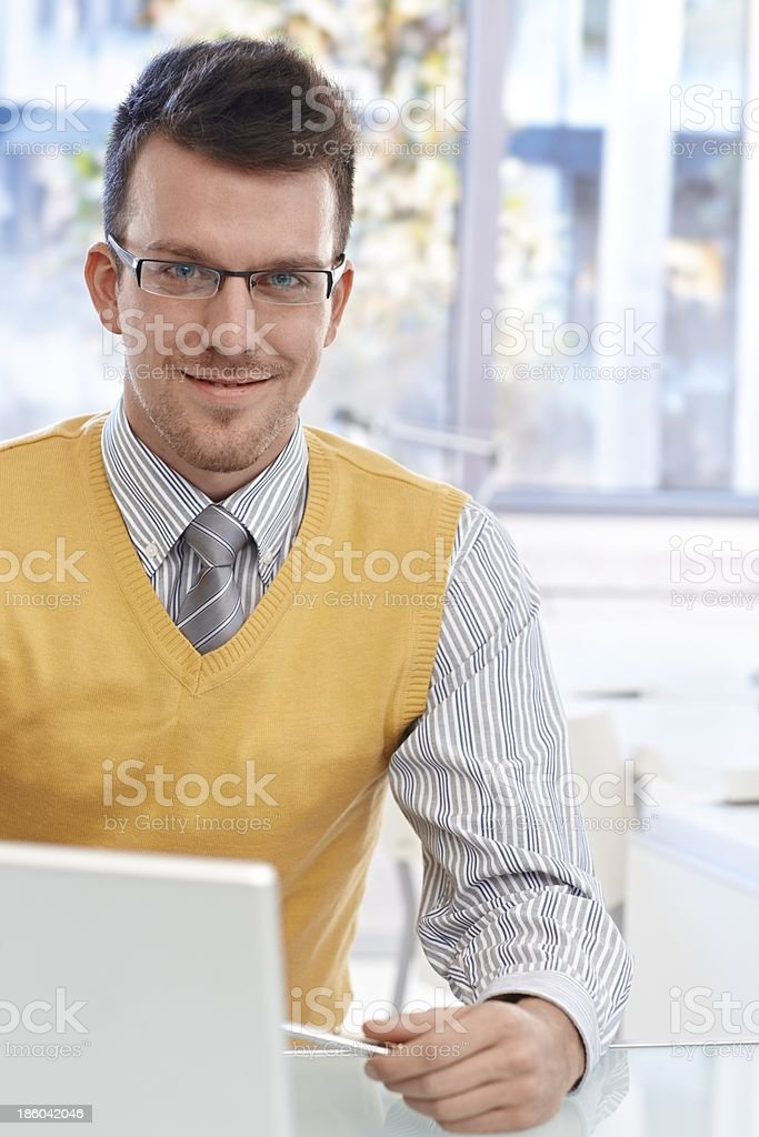 Portrait of confident businessman with glasses royalty-free stock photo