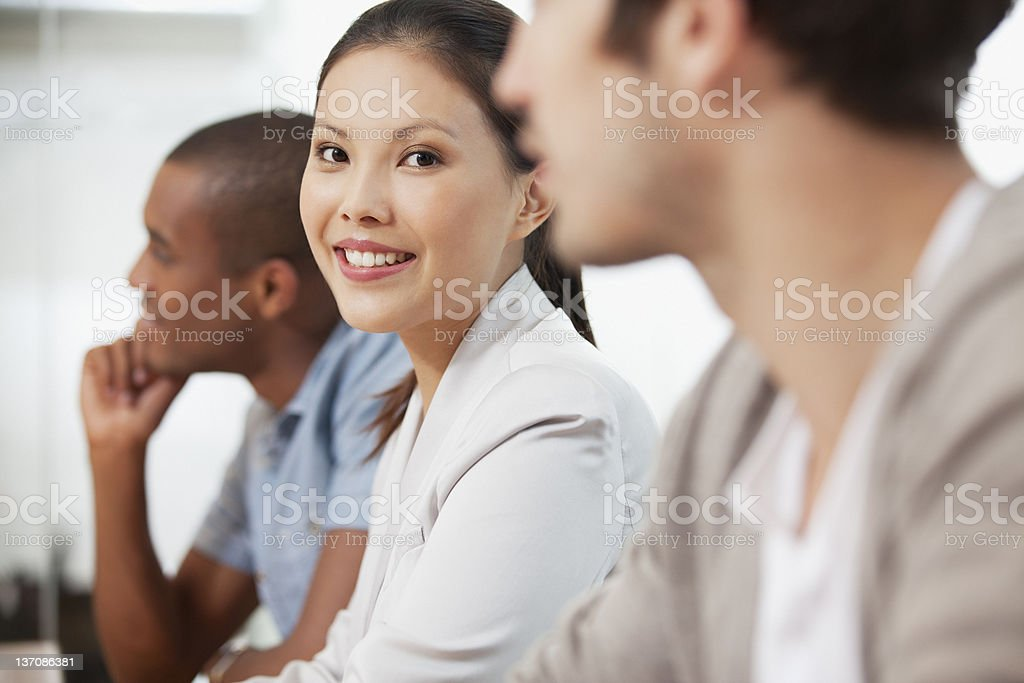 Portrait of confident businesswoman in meeting royalty-free stock photo