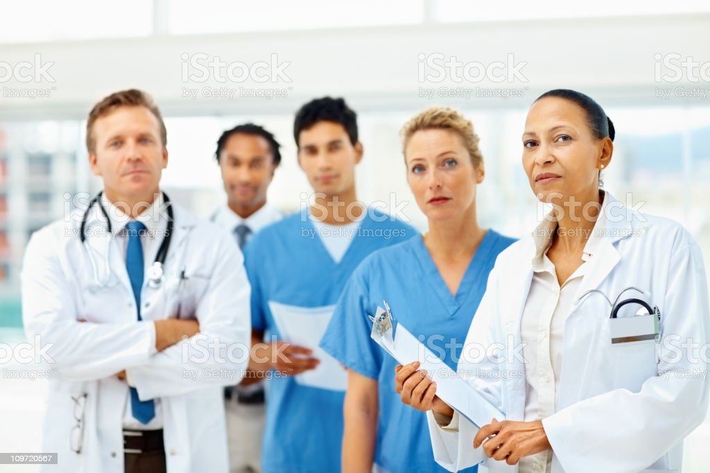 Portrait of confident doctors standing together royalty-free stock photo