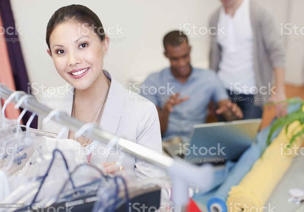 Portrait of confident fashion designer in office royalty-free stock photo