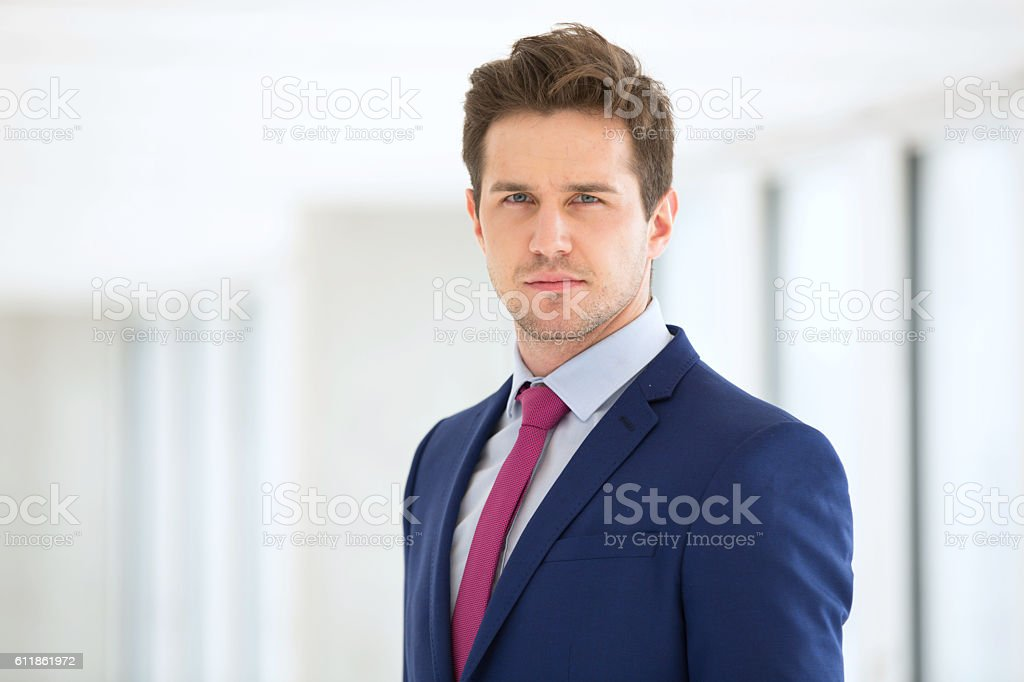 Portrait of confident young businessman wearing suit in office stock photo
