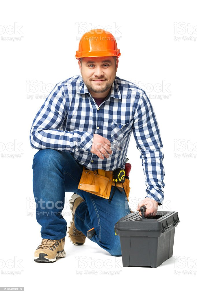 Portrait of construction builder isolated on white. stock photo