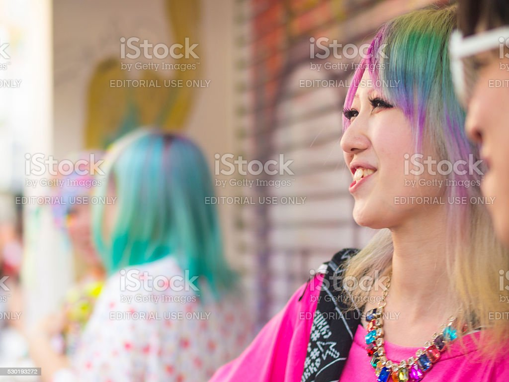 Portrait of Cosplay people at Harajuku's Takeshite Street in Tokyo stock photo