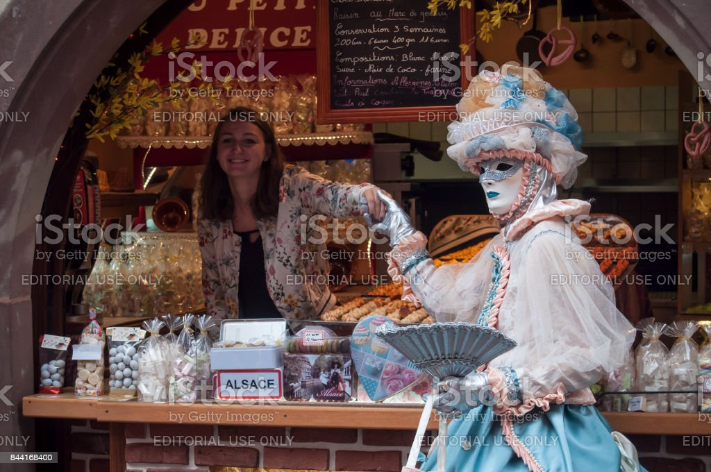 RIQUEWIHR - France - 1 July 2017 - portrait of Costumed woman with...