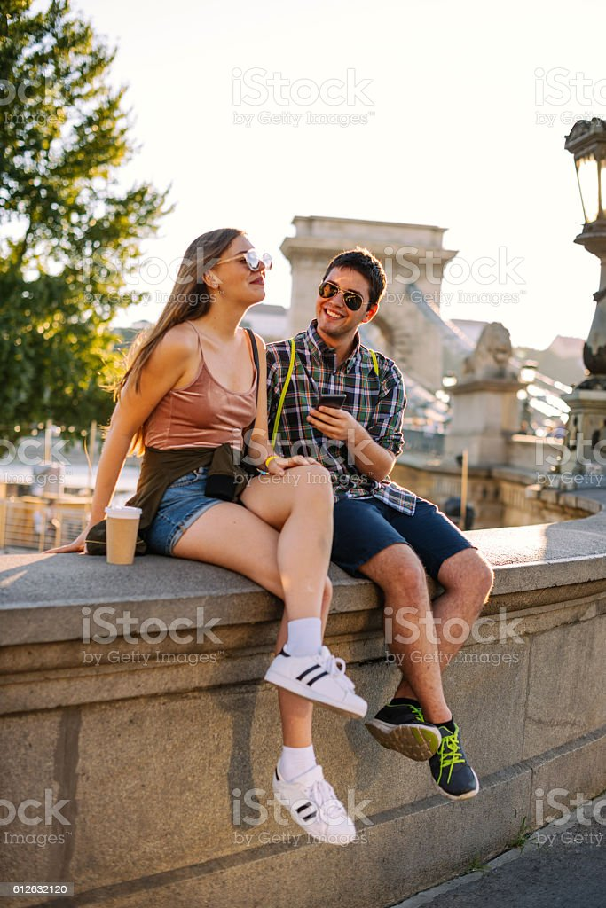 Portrait of couple having fun together stock photo