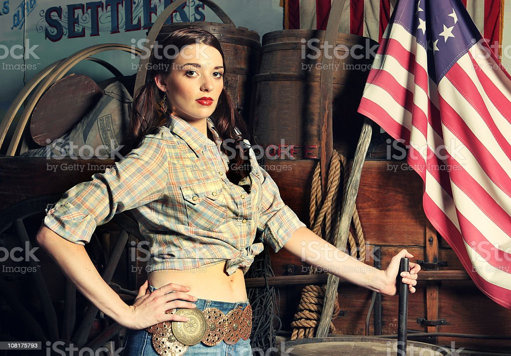 Portrait of Cowgirl stock photo