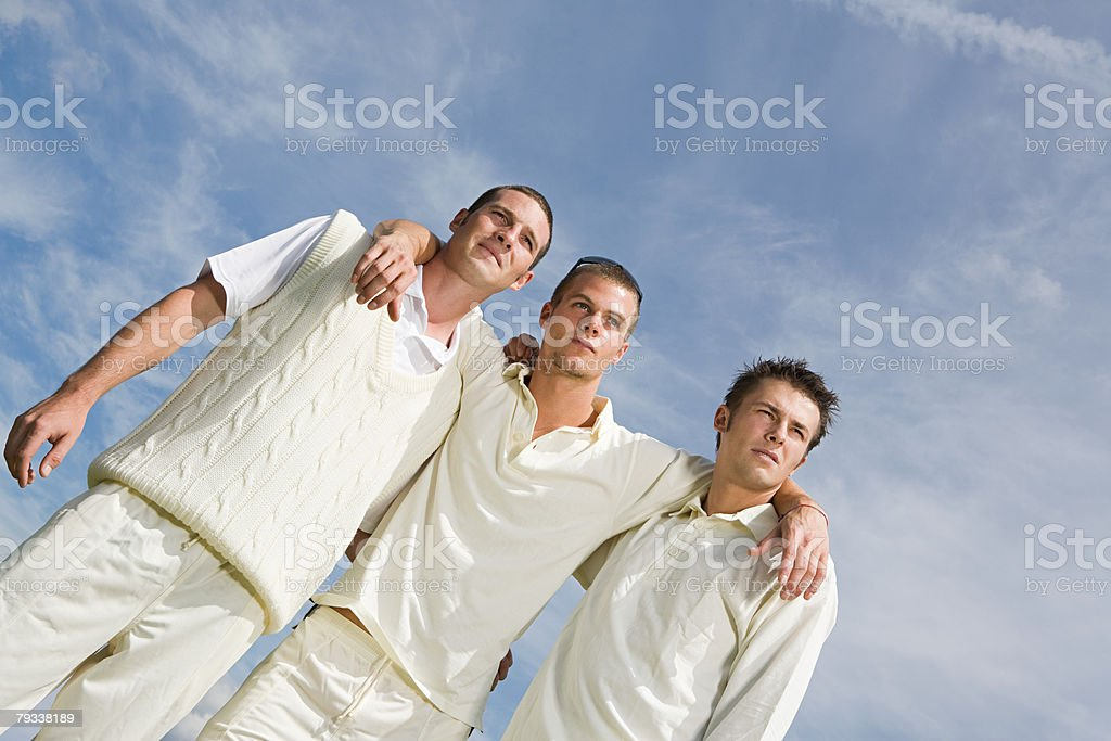 Portrait of cricket players stock photo