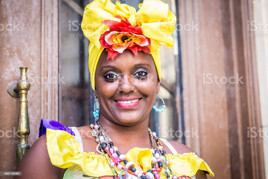 Portrait of cuban woman looking at camera smiling stock photo