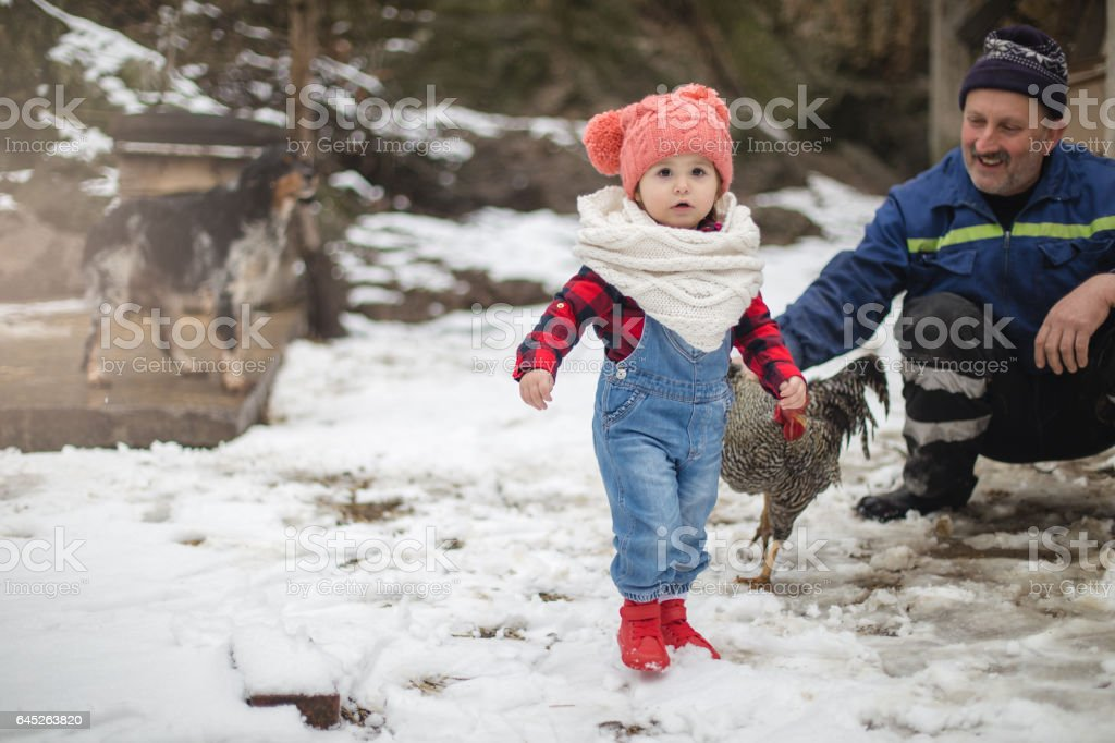 Portrait of cute farmer baby girl outdoors stock photo