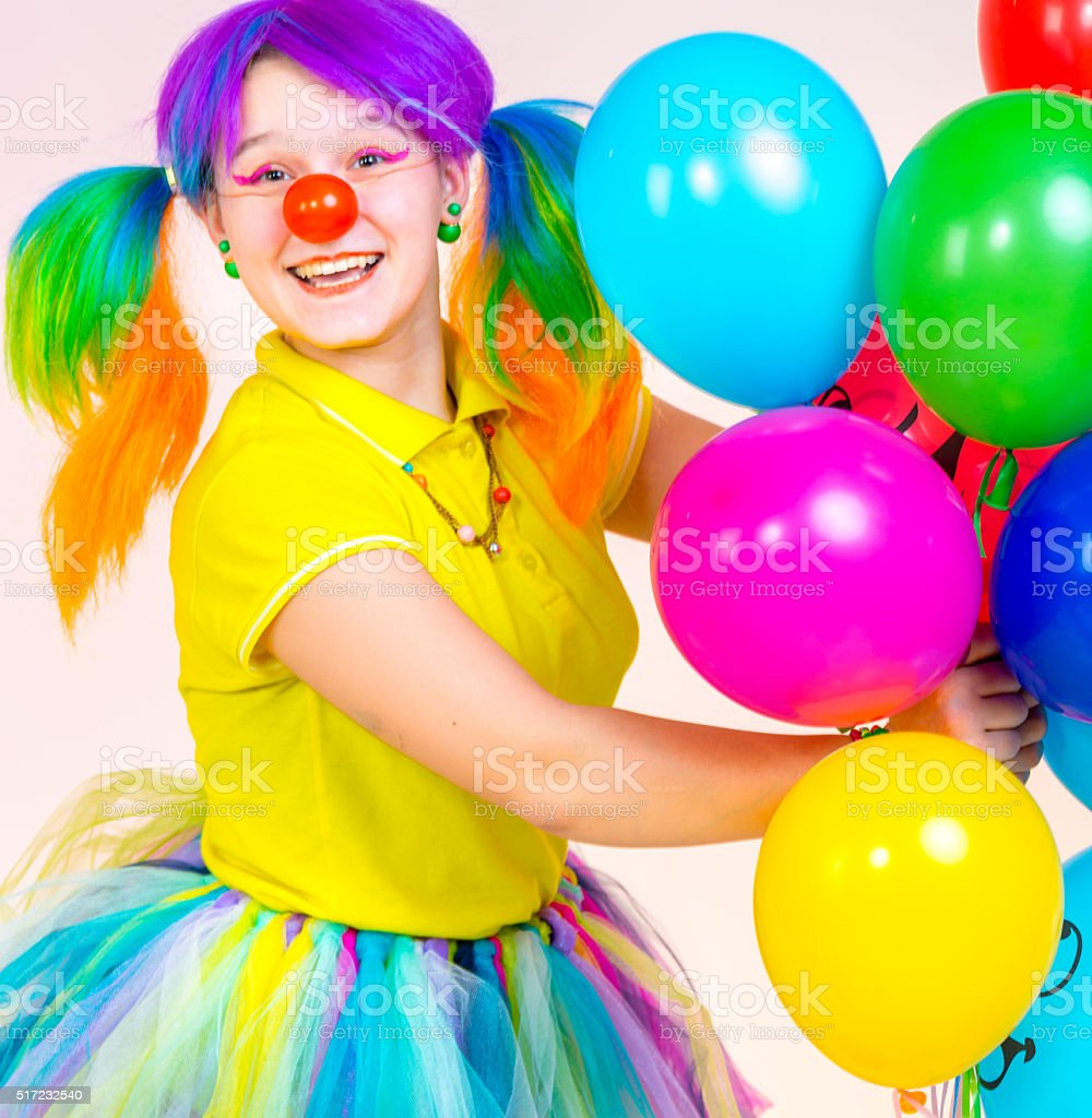 Portrait Of Cute Female Clown stock photo