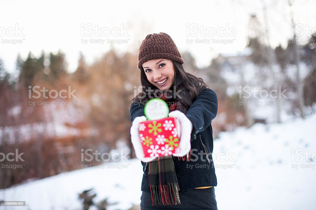 Portrait of Cute Girl with Present stock photo