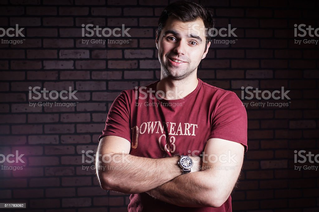 portrait of cute guy stock photo