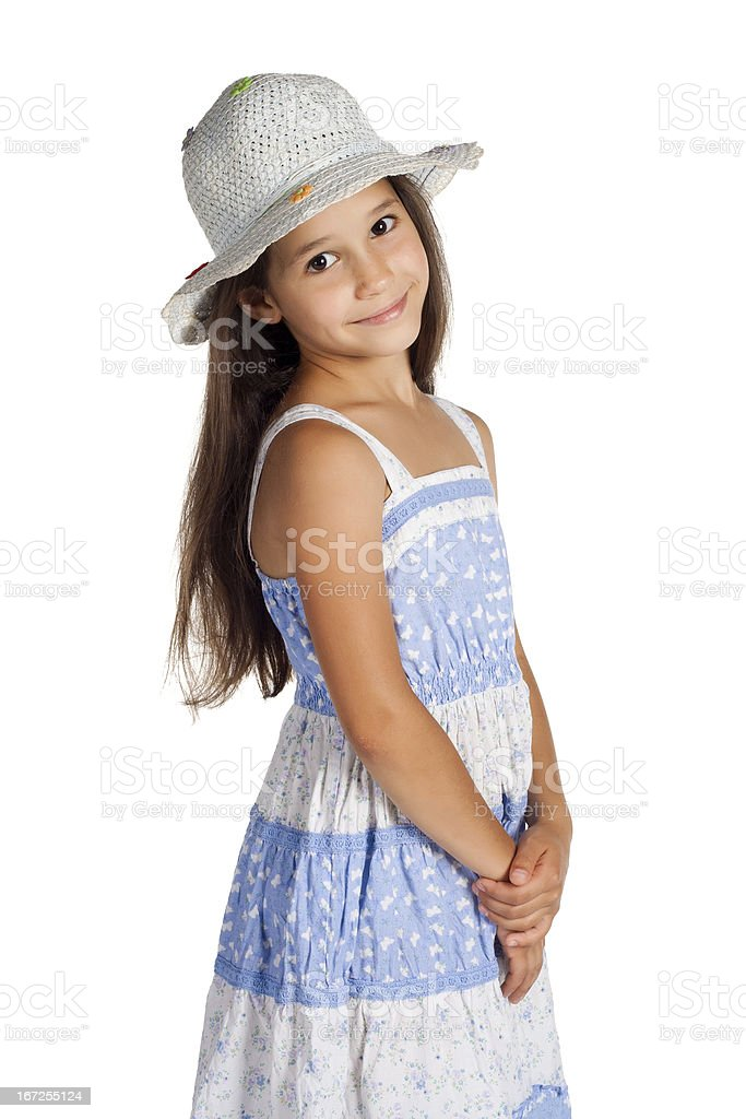 Portrait of cute little girl in hat royalty-free stock photo