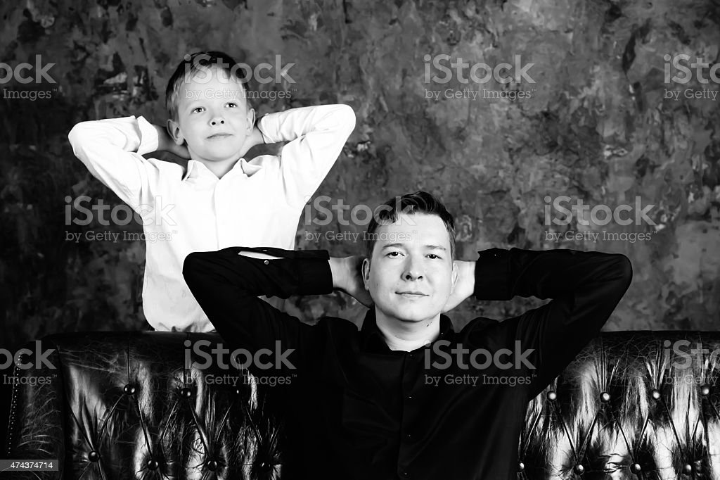 Portrait of dad and son stock photo