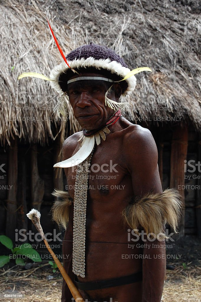 Portrait of Dany tribe leader stock photo