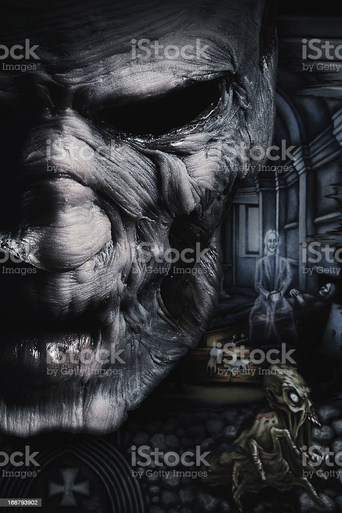 Portrait of dark deadman stock photo