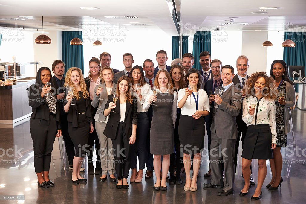 Portrait Of Delegates At Conference Drinks Reception stock photo
