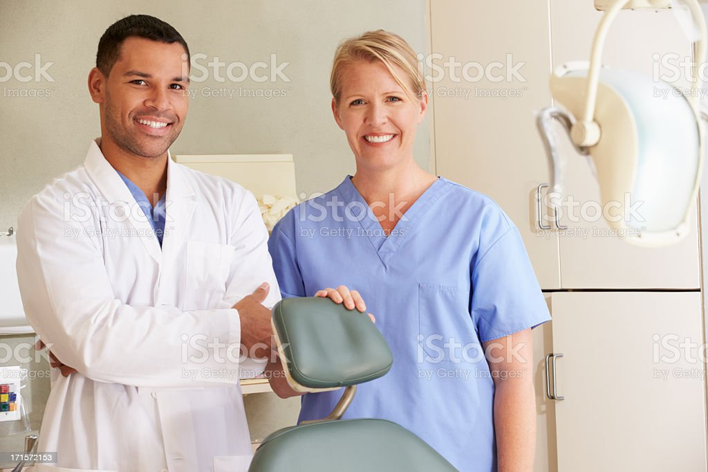 Portrait Of Dentist And Dental Nurse In Surgery royalty-free stock photo