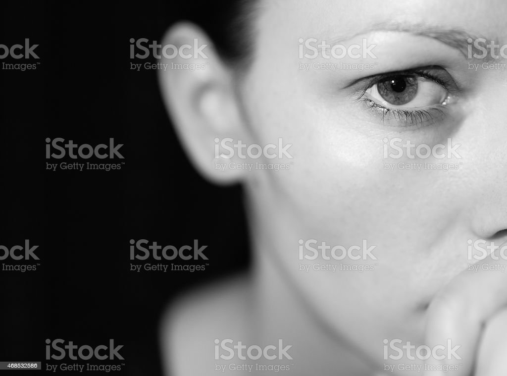 Portrait of depressed young woman. stock photo