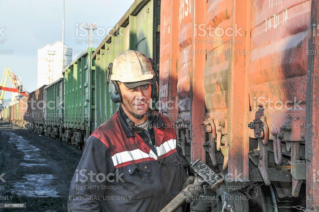 Portrait of docker  at the coal termina stock photo
