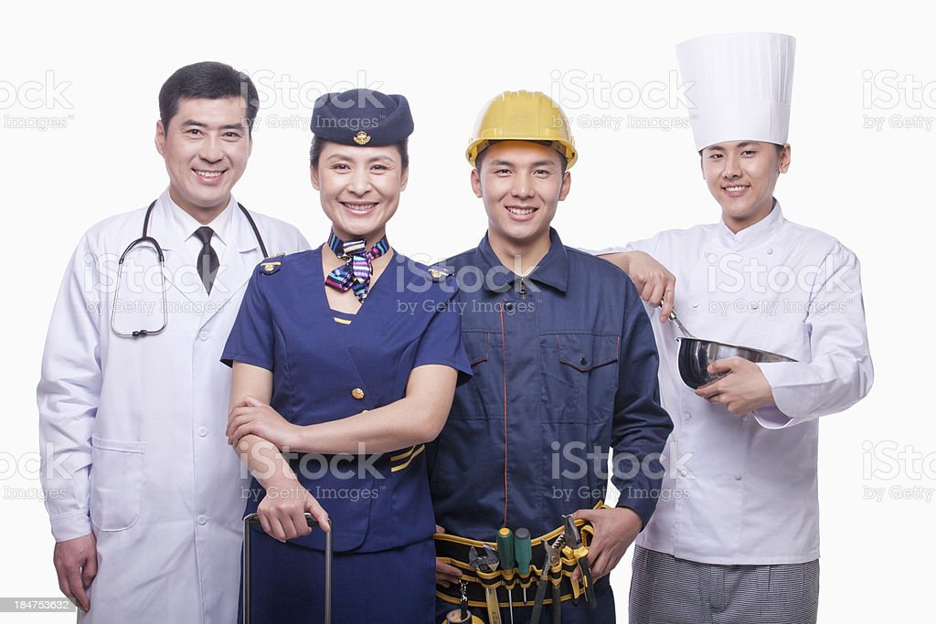 Portrait of Doctor, Air Stewardess, Construction Worker, and Chef stock photo