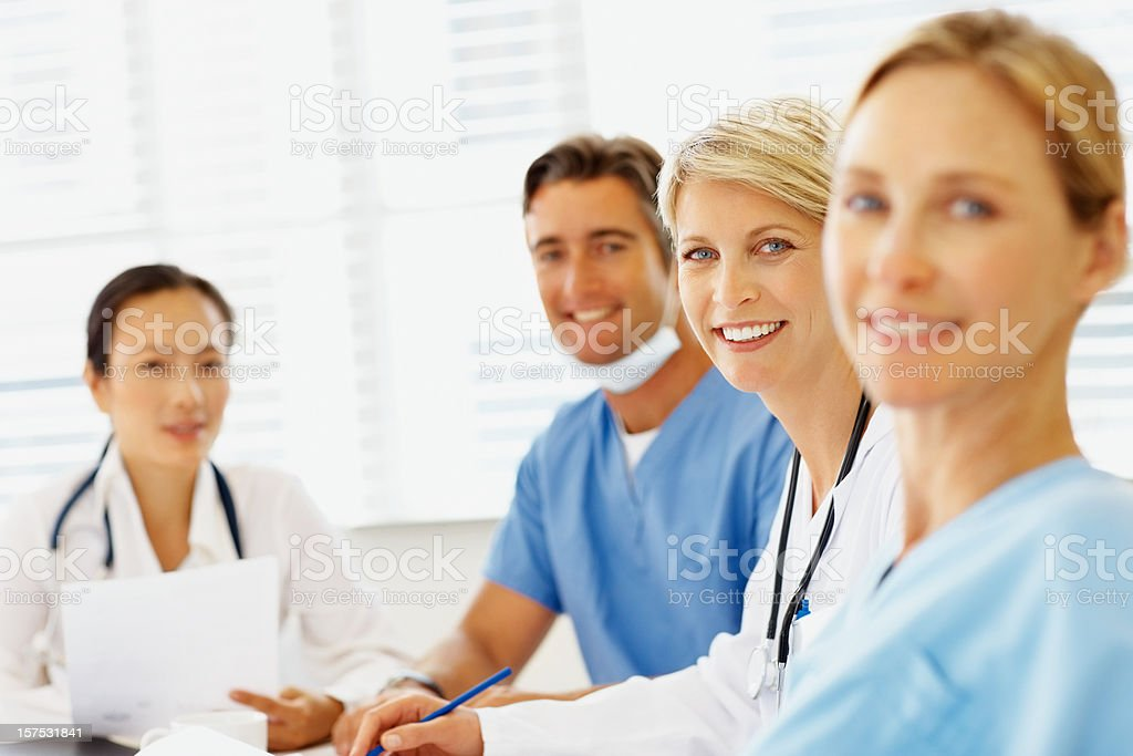 Portrait of doctors smiling in hospital royalty-free stock photo