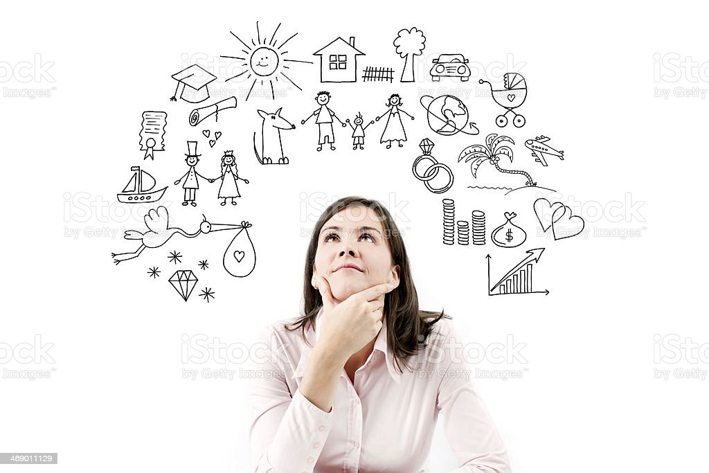 Portrait of dreaming and planing girl. stock photo