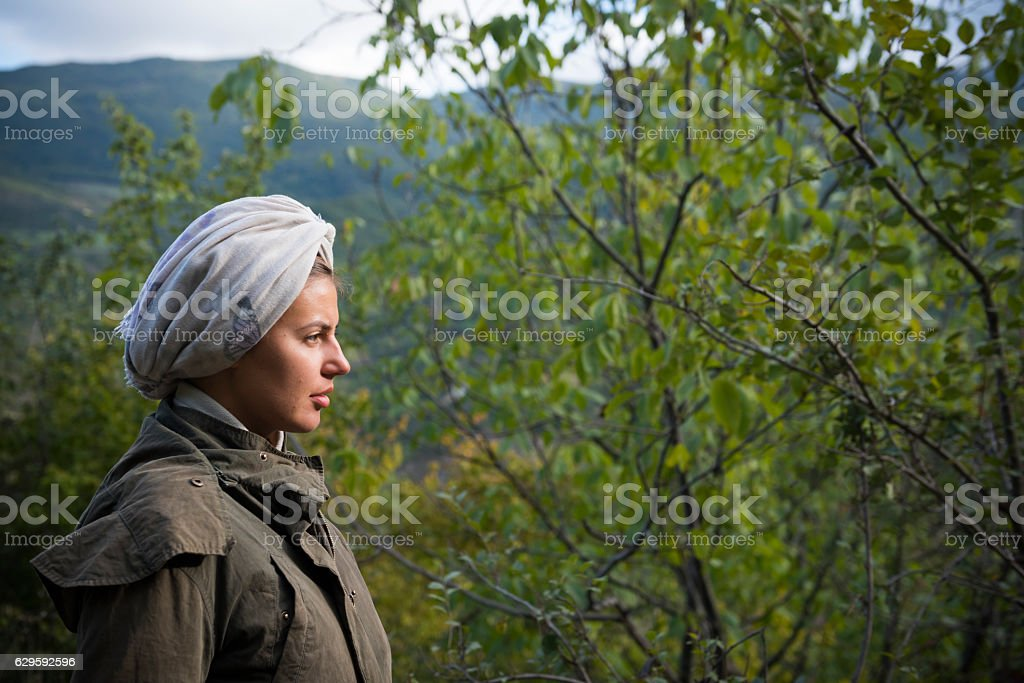 Portrait of east European woman traveling outdoors in Armenia stock photo