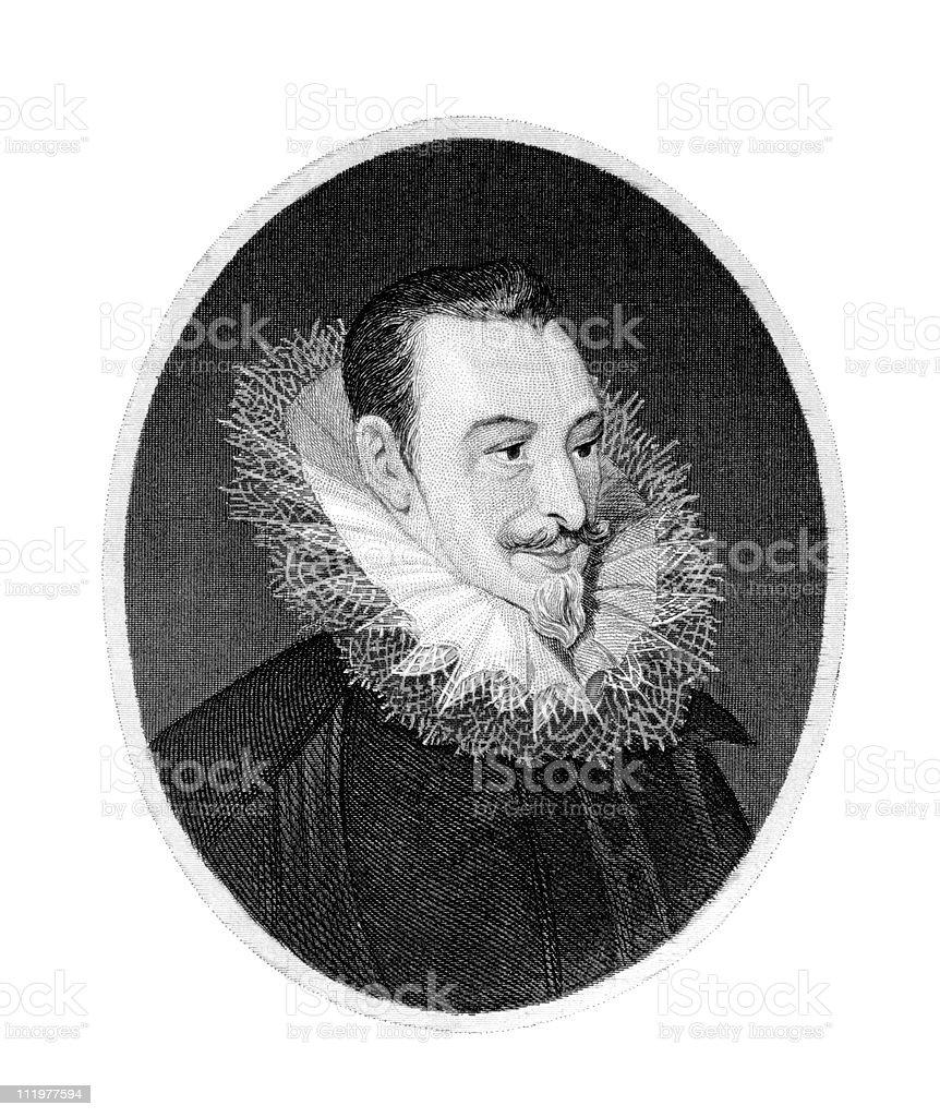 Portrait of Edmund Spenser, Poet stock photo