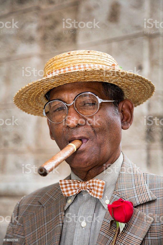 Portrait of elderly gentleman with cigar, Havana, Cuba stock photo