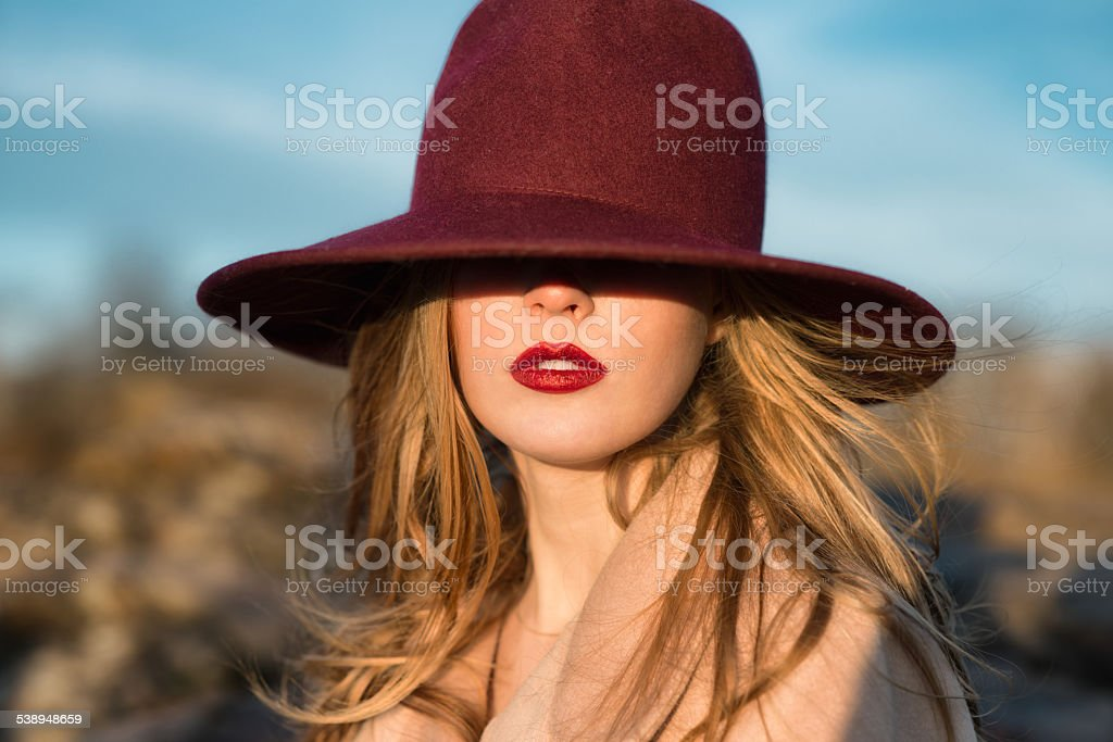 Portrait of elegant beautiful woman with red lips and hat stock photo