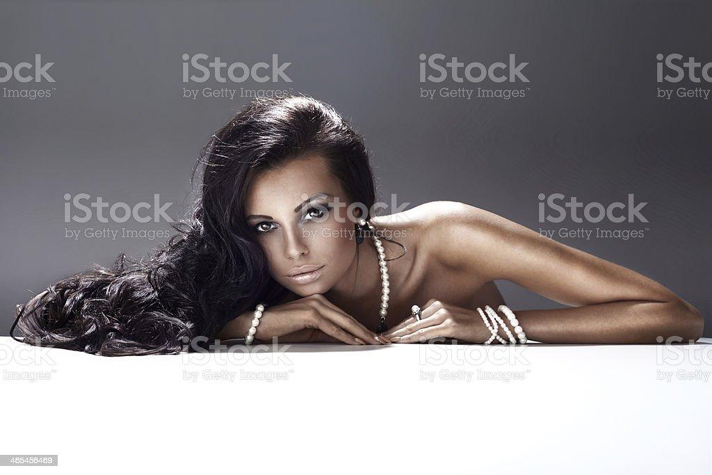 Portrait of elegant brunette woman. stock photo
