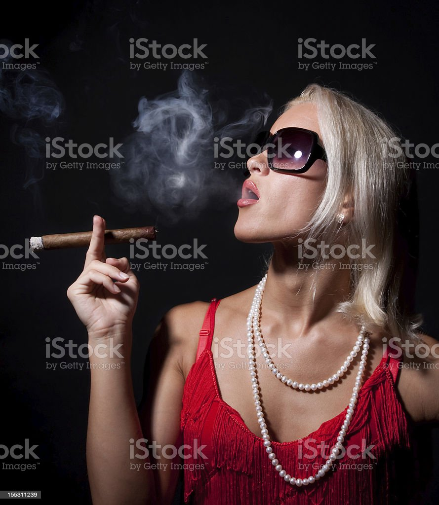 Portrait of elegant smoking woman. royalty-free stock photo
