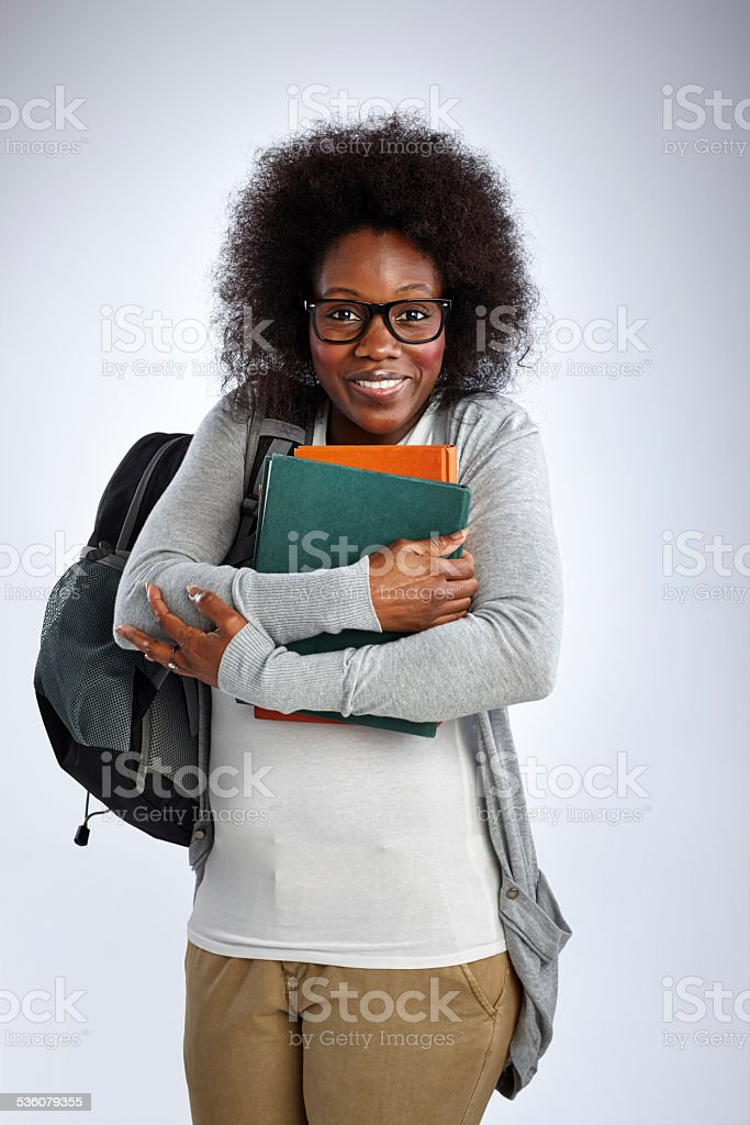 Portrait of excited adult student stock photo