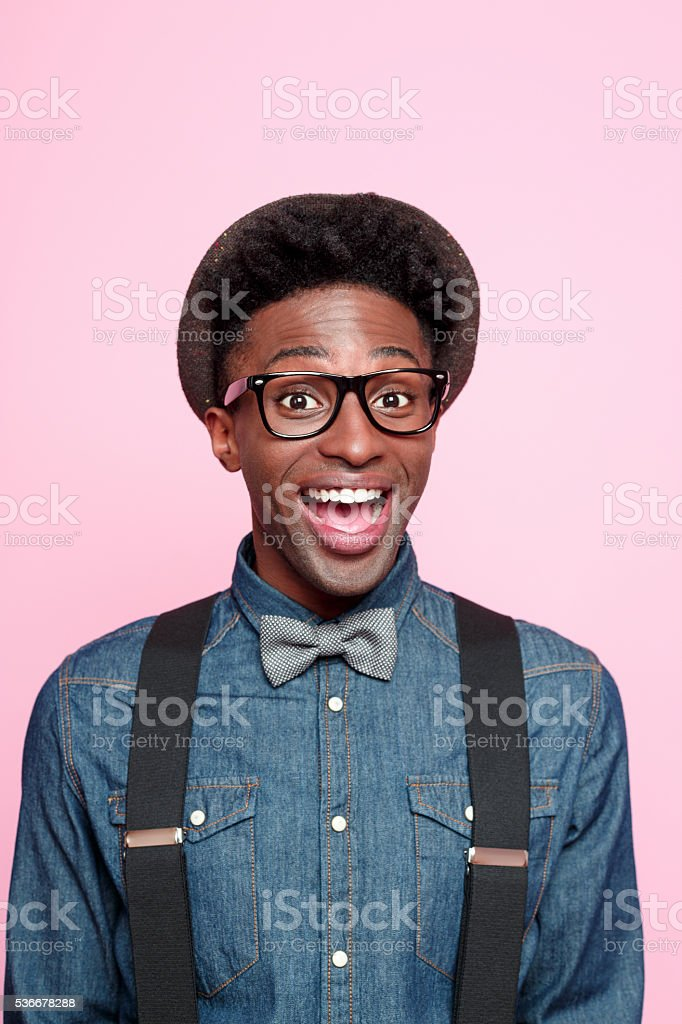 Portrait of excited afro american young man stock photo