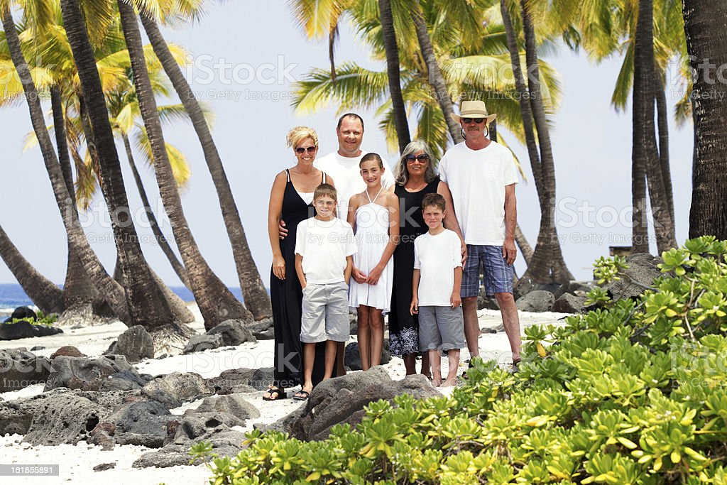 Portrait of Extended Family on Hawaii Vacation royalty-free stock photo