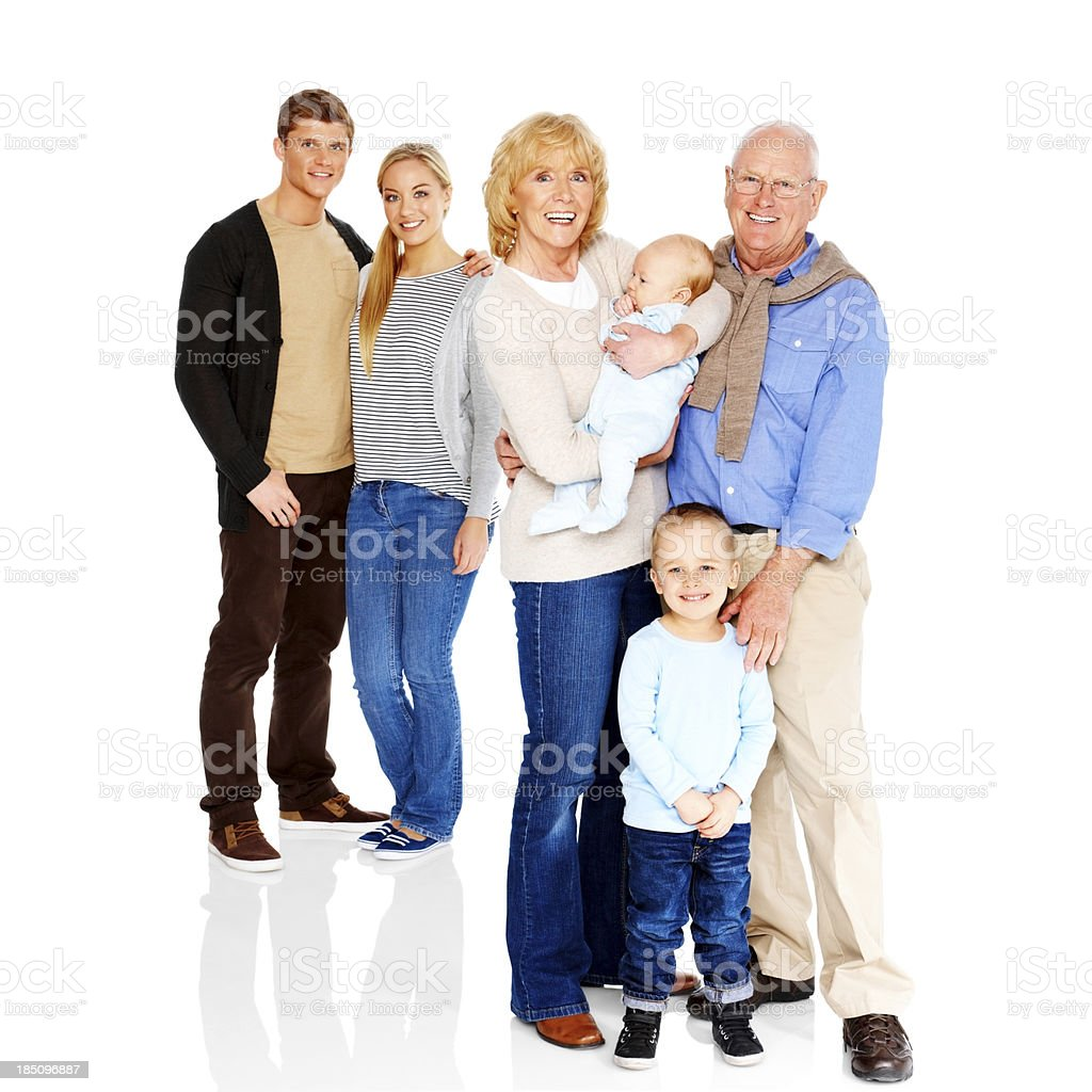 Portrait of extended family standing together royalty-free stock photo