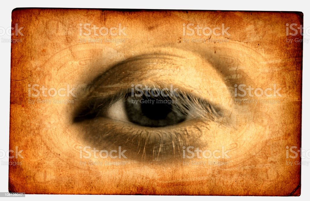 Portrait of Eye Printed on Textured Card stock photo