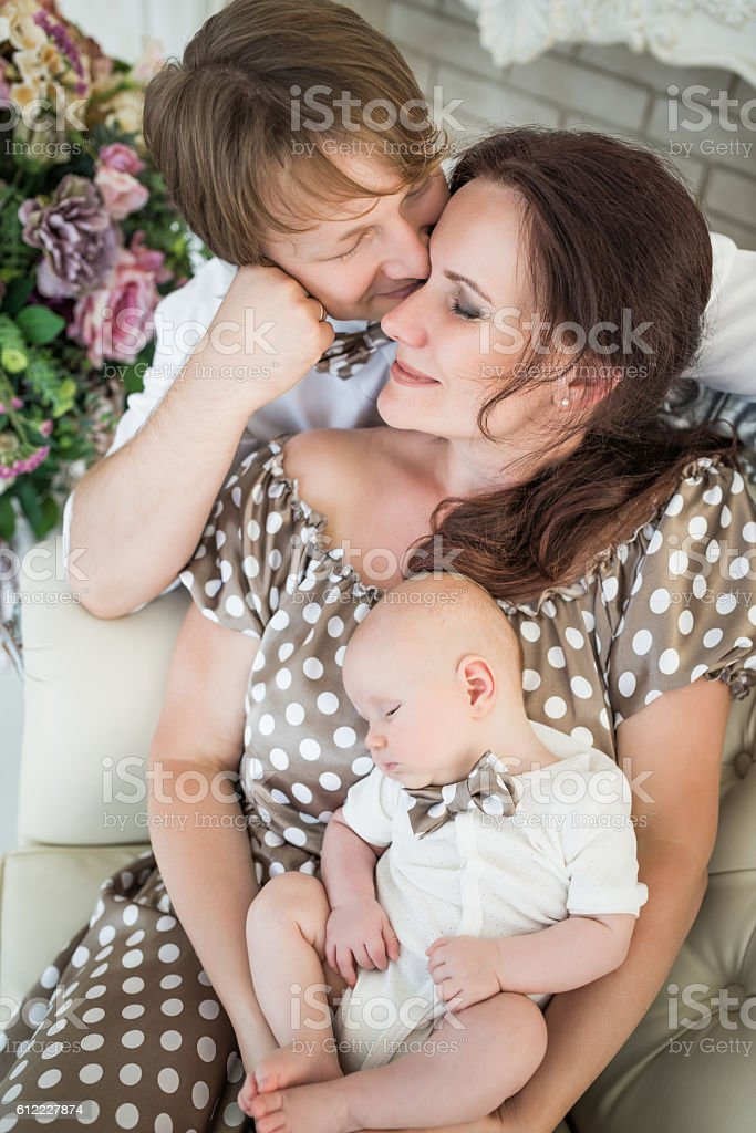 Portrait of family, father, baby and mother stock photo