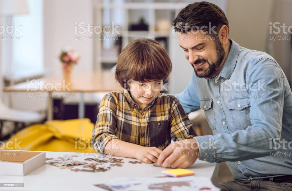 Portrait of family while playing stock photo