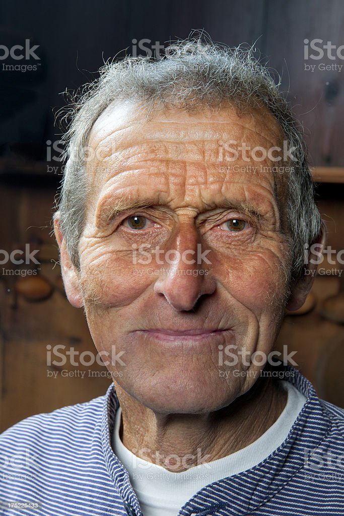 portrait of farmer with smokey face royalty-free stock photo