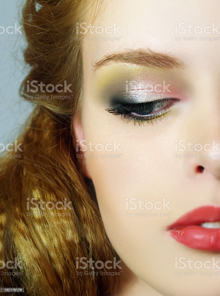 Portrait of fashion girl with brightly make up royalty-free stock photo