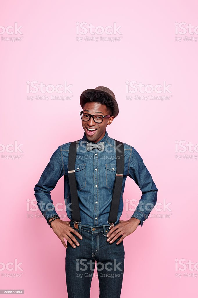 Portrait of fashionable afro american guy stock photo
