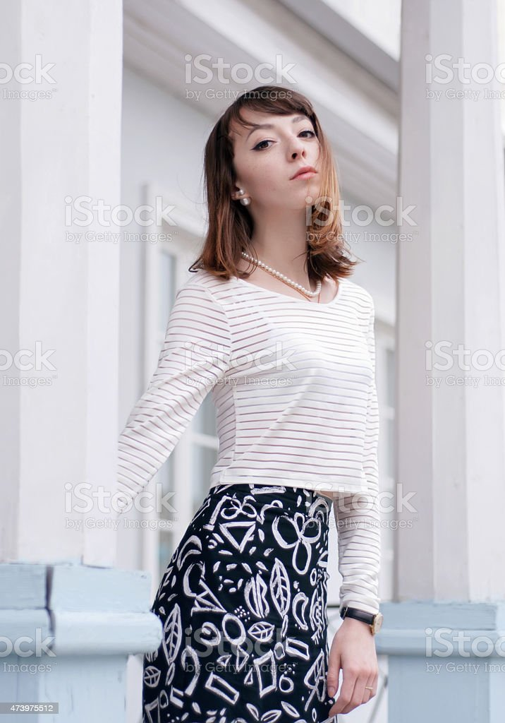 Retrato de moda de chica oscuras foto de stock libre de derechos