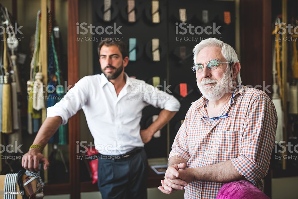 Portrait of Father and Son Entrepreneur stock photo