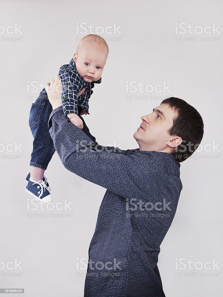 portrait of father with his baby boy royalty-free stock photo