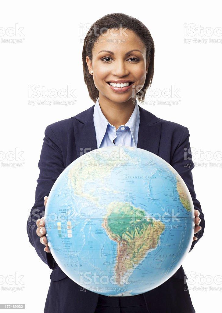 Portrait of female businesswoman holding world globe royalty-free stock photo